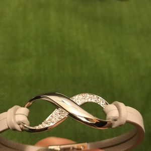 Swarovski bracelet grey leather and silvertone